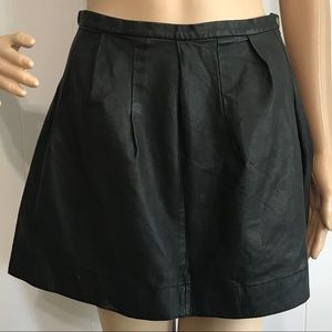Rebecca Taylor Black Pleated Leather Mini Skirt 4
